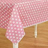 My Party Suppliers Polka Dot Plastic Table Cloth / Party Table Cover /, Party Supplies , Theme Birthday Party , Kids Party Supplies , Table Covers , Table Cloth (Light Pink)
