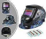 Leogreen - Casco de Soldadura Ajustable, Casco de Soldadura Solar, Con 3 lentes adicionales, Relámpago, Material: Plástico (PP, PE), Estado oscuro: DIN9-13