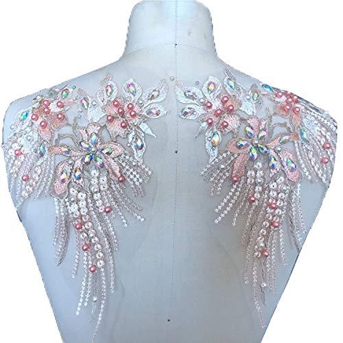 Spiegel-Paar mit Perlen, Blumenapplikation, bunte Strass-Motiv, Stickerei, Schulterschmuck, für Partys, Kostüme, Tanzkleid bunt - Ballkleid Mit Perlen Mieder