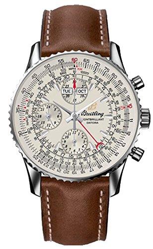 Breitling Montbrillant Datora / orologio uomo / quadrante argento / cassa acciaio / cinturino pelle marrone