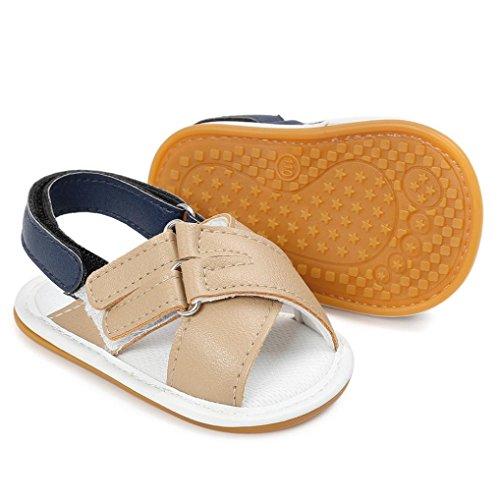 OverDose Unisex-Baby weiche warme Sohle Leder / Baumwolle Schuhe Infant Jungen-Mädchen-Kleinkind Schuhe 0-6 Monate 6-12 Monate 12-18 Monate G-PU Leder-Khaki