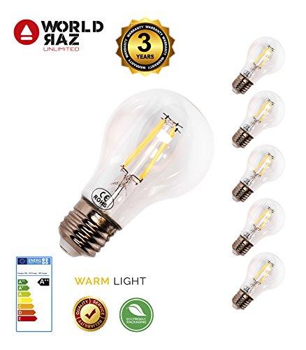 Classic-silber-3-licht (E27 LED lampe classic 4W A++ 5er Pack. Ersetzt leuchtmittel 60W. Warmweiss 3000K World Raz glühbirne Premium Qualität 3 JAHRE GARANTIE.  Energiesparlampe E27 Nicht Dimmbar)