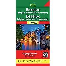 Carte routière : Benelux, Belgien, Niederlande, Luxemburg mit Ostfrankreich und Paris