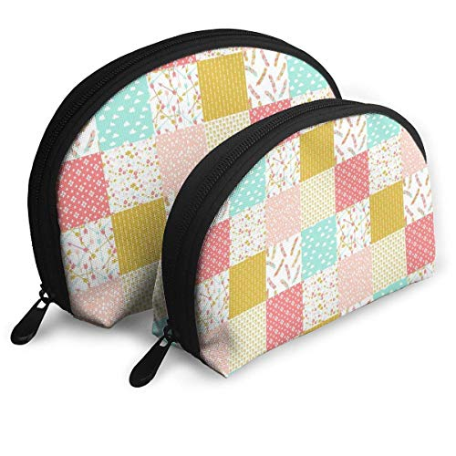 Heater Quilt Squares Portable Reise-Kosmetiktaschen Organizer Set of 2 for Women Teens Girls