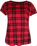 Search : Janisramone Womens Ladies New Rolled Cap Sleeve Scottich Red Tartan Printed PVC Tee T-Shirt Summer Top