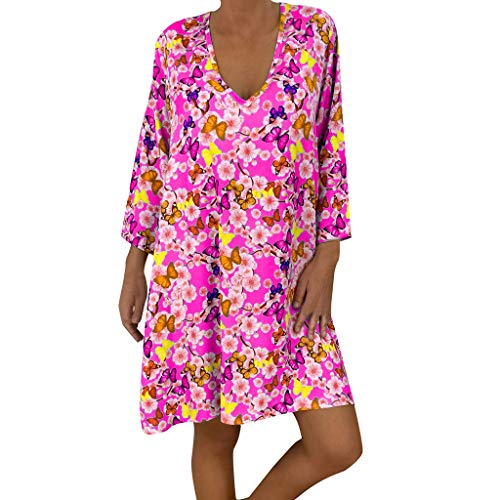 HHyyq Women Retro National Wind Loose Round Neck Dress Clothing Women's Summer Dresses Round Neck Short Sleeve T-Shirt Dress Floral Pattern with Pockets(Pink,S) -