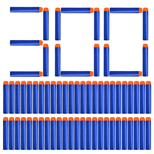 MAJOZ Darts Pfeile für Nerf 100PCS Klassisch Darts 300 Stück Blue Foam Pfeile Patronen for Nerf N-Strike Elite Series -Blau