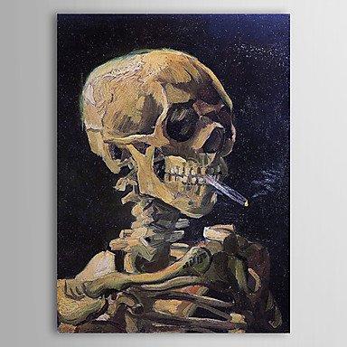 OFLADYH ® Berühmte Ölgemälde Schädel mit brennender Zigarette durch Van Gogh (Ziehen Schädel)