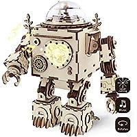 Robotime 3D Laser Taglia Puzzle in legno - Orpheus Fai da te Robot Box Music with Light Led - Regali di Natale di compleanno creativo per i ragazzi e le ragazze