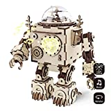 ROBOTIME 3D Laser Cut Wooden Puzzle - Adults Model Kits - Orpheus DIY Robot Music Box with Led Light - Creative Valentine's Day/Birthday Christmas Gifts for Boys and Girls