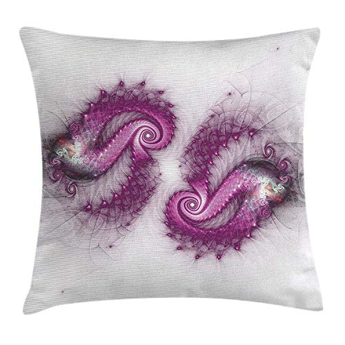WHALE LANDY 18'X18 'Spiers Decor Throw Pillow Cushion Cover, Psychedelic Bizarre Helix Lettering Pattern with Illuminations Futuristic Image, Decorative Square Accent Pillow Case, Purple