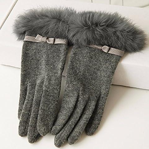 KHSKX Il Coniglio tiepido Guanti di pelliccia di colore solido lana di prua maglia di lana si riferisce al signore ispessita guanti,grigio