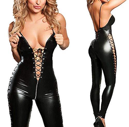 Mujer Sexy Latex Catsuit Lencería Disfraz Erótico Pecho Abierto Escotado por Detrás Disfraces Bodysuit Negro Charol Jumpsuit,L