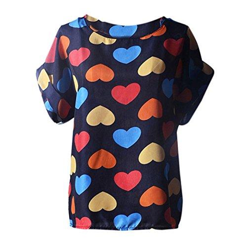 n Tropisch Tops Hemd Chiffon Haushemd Bluse Lose Damenmode Frauen Kurzarm-Shirt Sommerhemd Sommerbluse Kurzarm Kurzarmlig Streetwear Blusen Streetwear (S, A3) (Tropische T-shirts Damen)