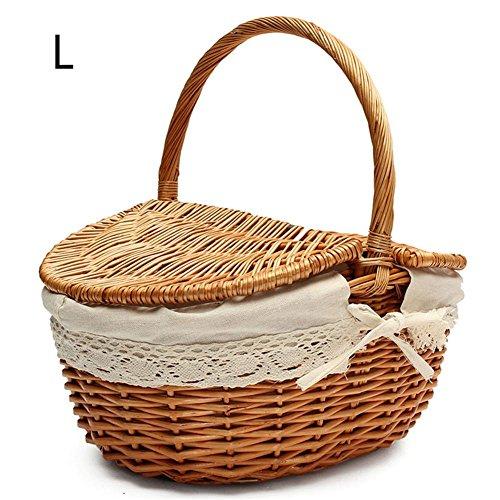 Descripción:     Esta cesta de mimbre para picnic es liviana pero duradera, está llena de estilo rural británico. Tiene detalles exquisitos de mano de obra y encaje, se ve muy elegante y elegante. El cómodo asa de transporte hace que sea más fáci...