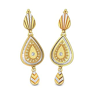 Candere By Kalyan Jewellers 22k (916) Yellow Gold Ballari Drop Earrings
