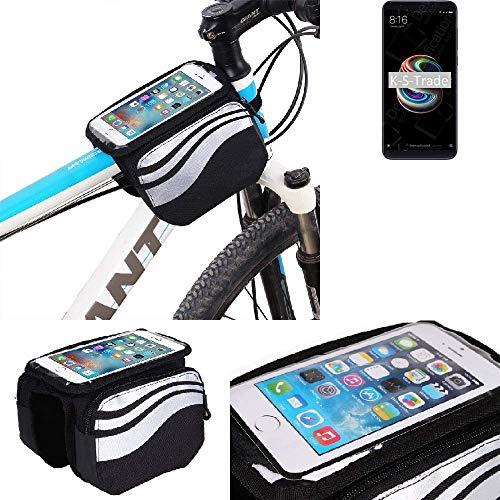 K-S-Trade® Bolso Funda Bicicleta para Xiaomi Redmi Note 5 SD625 India, Teléfono Móvil Funda Móvil Soporte Tubo Bici Ciclismo, Negro Y Plata, Impermeable Resistente Al Agua