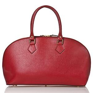 italienische Damen Henkeltasche Cannes aus echtem Leder in rubin rot, Made in Italy, Handtasche 43x26 cm