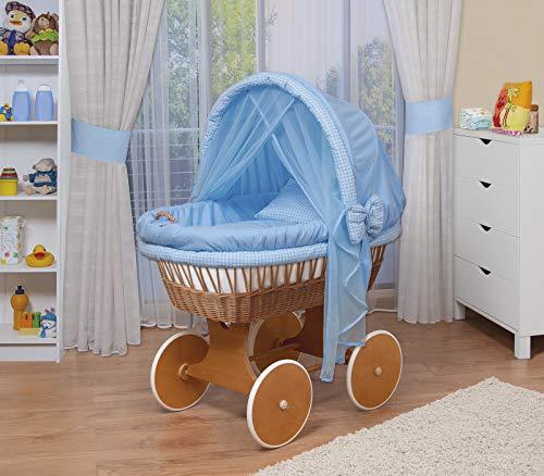 WALDIN Baby Stubenwagen-Set mit Ausstattung,XXL,Bollerwagen,komplett,44 Modelle wählbar,Gestell/Räder lackiert,Stoffe blau/kariert
