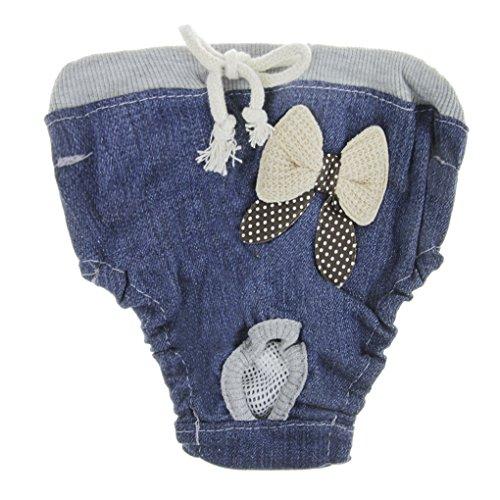 Jeans Läufig Pant, Modische Hygieneunterhose, Haustier weibliche Hund Teddy Sanitär Windel Physiologische Unterwäche Jeans Blau