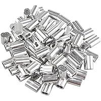 100 clips de alambre de 1,5 mm para sujetar cables de aluminio, color plateado con doble agujero