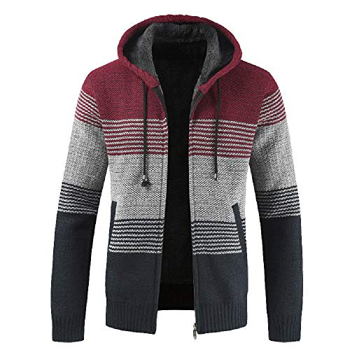 Herbst Winter Strickjacke MEIbax Herren Packwork Hooded Zipper Jacke Langarm-Mantel Cardigan Übergangsjacke Outwear -