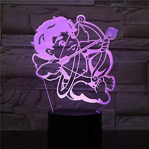 KangYD Cupid Love Arrow LED Nachtlampe, 3D Illusion Lampe, bunte Lichter, Dekor, Wecker Base 7 Farbe,Wohnkultur