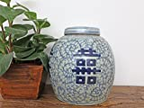Yajutang Deckelvase Doupelglück Vase Blau-Weiß China Porzellan 21 cm P0150