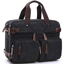 Cesu portátil bolsa Hybrid maletín mochila Messenger Bag para hombres mujeres negro negro