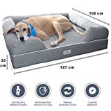 PetFusion Ultimate Dog Bed & Lounge. (Jumbo XXL, Slate Gray, 127 x 102 x 33 CM). Premium Edition w/ Solid 15 CM Memory Foam. [Replacement covers also available]