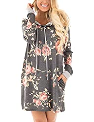 Women Autumn Hooded Mini Dress Casual Loose Floral Print Office Dress Vintage Long Sleeve Ladies Party Hoodies Dress