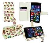 Emartbuy® Microsoft Lumia 640 LTE / Lumia 640 LTE Dual Sim Premium PU Lederetui Tischladestation Geldbörse Tasche Hülle Eules mit KRotitkartenfächern