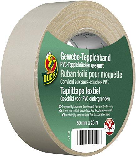 DUCK Gewebe Teppichband - Doppelseitiges Verlegeband zur Verklebung von Teppichen - Gewebeband zum Befestigen am Teppichrücken - 50mm x 25m