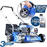 Hyundai HYM400P 79cc Push Rotary Petrol Lawnmowers, 7 Position Central Cutting Height Adjustment, 16 Inch 40 Centimetre Cutting Width, Steel Deck, Included Engine Oil, Blue