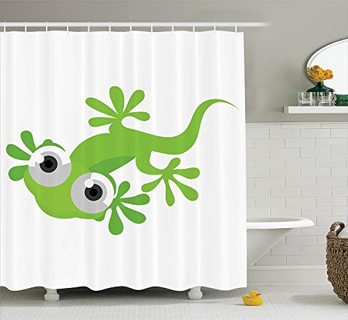 tgyew Reptile Decor Collection, Cute Lizard Looking at Us Creature Animal Primitive Nature Animation Reptile Design, Polyester Fabric Bathroom Shower Curtain Set with Hooks, Green White,72x72 inches Taupe Lizard