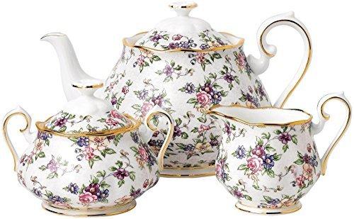 Creamer Set (Royal Albert 100 Years 1940 3-Piece Teapot Sugar &Creamer Set English Chintz, Multicolored by Royal Albert)