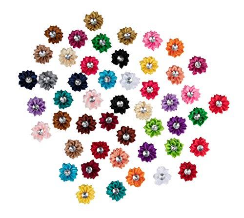 Juvale Satin-Stoff-Blumen mit Strass-Verzierungen, verschiedene Farben, 3,8 cm, 50 Stück - Pink Ball Blüte