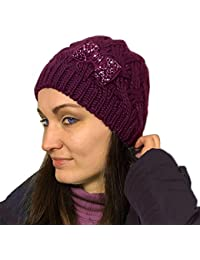 ROCKJOCK Ladies Womens Girls Knitted Beanie Hat with Decorative Jewelled Diamanté Bow