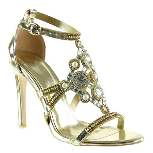 Angkorly - Damen Schuhe Pumpe - Stiletto - Offen - Abend - Schmuck - Perle - Strass Stiletto high Heel 10.5 cm - Gold SK1107 T 39 - Pumpen-perlen