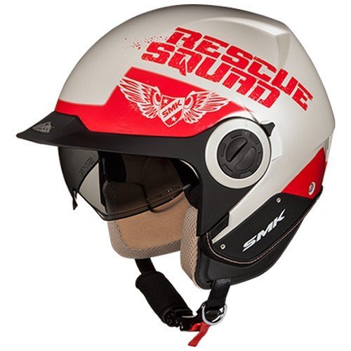 SMK GL130 Derby Rescue Graphics Open Face Helmet (Gloss White with Red, L)