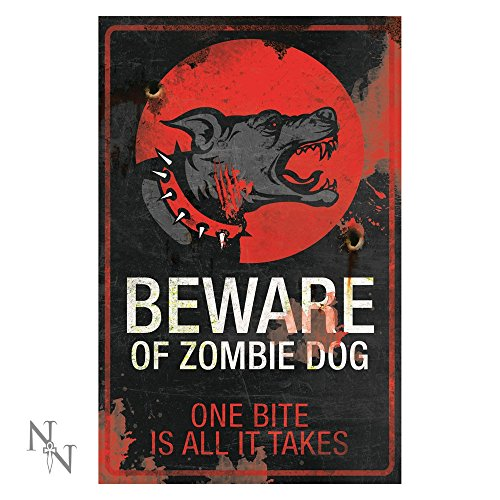 Nemesis Now Türschild/Wandschild aus Metall, mit Motiv (Zombie Hund)