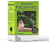 PremiPro Katzennetz für Balkon & Fenster | Extra Groß 8x3m | Transparentes Katzenschutznetz - Sicherheitsnetz Zum Schutz Ihrer Katze | Inkl. Haken, Dübel und 25m Befestigungsseil