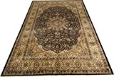 New Kashmiri Traditional Silk Carpet Classical Design Carpet for Living Room-Black (180X270 Cm) 6 Feet By 9 Feet