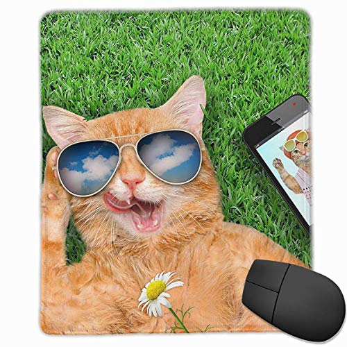Cat Wearing Glasses According to The Sun Rectangle Non-Slip Rubber Mouse Pad with Stitched Edges