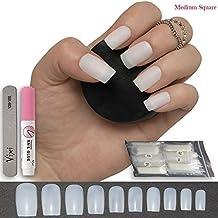 Juego de 100 uñas postizas cuadradas de 10 tamaños, pequeñas/medianas, para manicuras