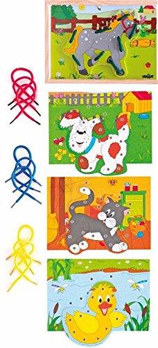 Woodyland 19 x 13,5 cm didáctico juguetes Cordón animales en un Box