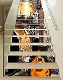 3D Treppenaufkleber Set 18cm x 100cm Musik Gitarre Schlagzeug Bühne Retro Aufkleber Treppe selbstklebend Treppenhaus Bodenaufkleber wasserdicht Flur B1T826, Anzahl Stufen:6 Stufen