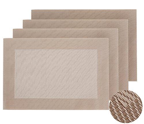 Deconovo Lot de 4 Set de Table Plastique en PVC Lavable Géométrique 30x45cm Beige