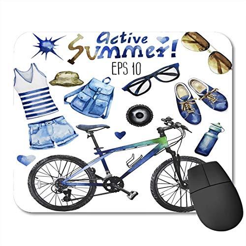 rutschfeste Gummi-Rechteck-Mausunterlagen,Aquarell-Sammlung von Attributen f¨¹r Active Summer Casual Denim Sonnenbrillen Fahrrad Gumshoes Rucksack