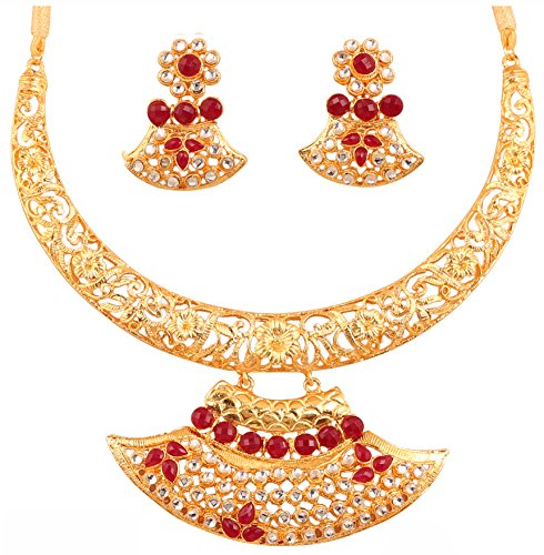 Touchstone Gold Tone Indian Bollywood Red Faux Ruby White Crystals Bridal Jewelry Necklace Set For Women  available at amazon for Rs.479